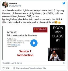 南加州大学Emily Nix教授DIY在线教学技巧吸粉无数